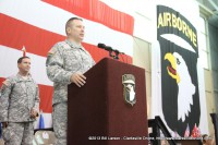 Brig. Gen. Mark Stammer addresses the returning soldiers