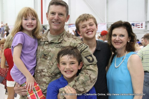Col. Joseph P. McGee, the commander of the 1st Brigade Combat Team with his family after the Welcome Home Ceremony