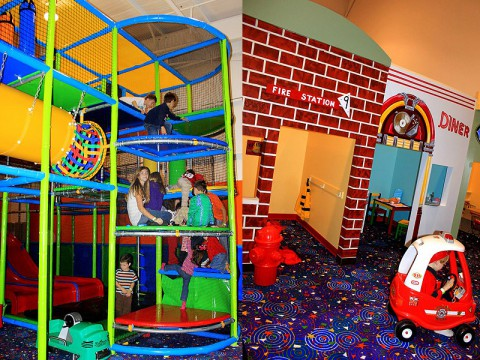 (L) Children enjoying the multi-level play scape. (R) A child dresses up as a firefighter in Tot-ville.