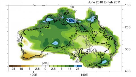 Changes in Australia's mass as reported by data from NASA's Gravity Recovery and Climate Experiment (GRACE) satellites from June 2010 to February 2011. Areas in greens and blues depict the greatest increases in mass, caused by excessive precipitation. The contour lines represent various land surface elevations. (Credit: NCAR/NASA/JPL-Caltech)