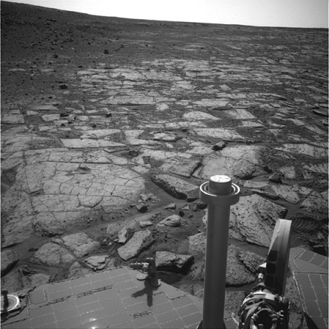 "NASA's Mars Exploration Rover Opportunity used its navigation camera (Navcam) to record this image of the northern end of ""Solander Point,"" a raised section of the western rim of Endeavour Crater. (Image credit: NASA/JPL-Caltech)"