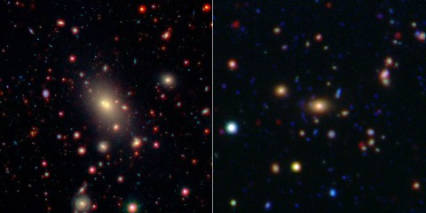 This image shows two of the galaxy clusters observed by NASA's Wide-field Infrared Survey Explorer (WISE) and Spitzer Space Telescope missions. Galaxy clusters are among the most massive structures in the universe. The central and largest galaxy in each grouping, called the brightest cluster galaxy or BCG, is seen at the center of each image. (Image credit: NASA/JPL-Caltech/SDSS/NOAO)