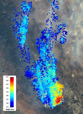 The Multi-angle Imaging SpectroRadiometer (MISR) instrument on NASA's Terra spacecraft views every scene it observes from nine different angles. This unique design allows it to measure the height of smoke plumes using stereoscopic techniques. This MISR image, acquired Aug. 23, 2013, shows a 121-by-165-mile (194-by-266 kilometer) portion of the scene, where the smoke is the thickest. (Image credit: NASA/GSFC/LaRC/JPL, MISR Team)