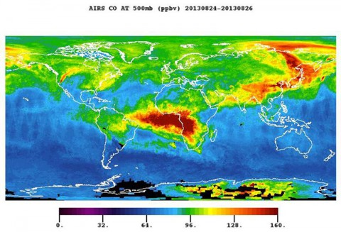 The plume of carbon monoxide pollution from the Rim Fire burning in and near Yosemite National Park, Calif., is visible in this Aug. 26, 2013 image from the Atmospheric Infrared Sounder (AIRS) instrument on NASA's Aqua spacecraft. The image shows a three-day running average of daily measurements of carbon monoxide present at an altitude of 18,000 feet (5.5 kilometers). (Image credit: NASA/JPL-Caltech)
