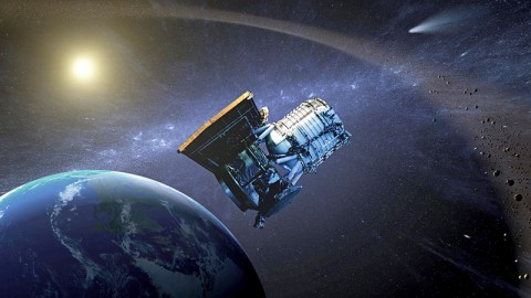 This artist's concept shows NASA's Near-Earth Object Wide-field Infrared Survey Explorer, or NEOWISE spacecraft, in its orbit around Earth. (Image credit: NASA/JPL-Caltech)