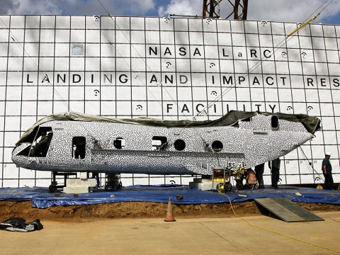 NASA's Langley Research Center engineers are scheduled to crash test a former Marine helicopter at the historic Landing and Impact Research facility. The fuselage is painted in black polka dots as part of a high speed photographic technique. (Image Credit: NASA Langley / David C. Bowman)