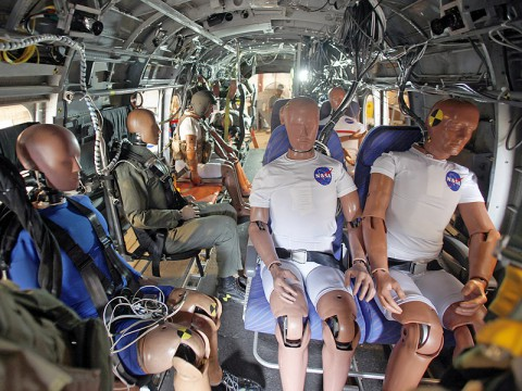 Engineers have installed instrumented crash test dummies and un-instrumented manikins. They will test seatbelts and other technologies during a crash test in which the helicopter will be dropped from a height of about 30 feet and hit the ground at about 30 miles an hour. (Image Credit: NASA Langley / David C. Bowman)