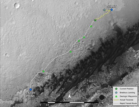"""NASA's Mars rover Curiosity left the """"Glenelg"""" area on July 4, 2013, on a """"rapid transit route"""" to the entry point for the mission's next major destination, the lower layers of Mount Sharp. As of Aug. 27, 2013, NASA's Mars rover Curiosity has driven about 0.86 mile (1.39 kilometers) since leaving Glenelg, with about 4.46 miles (7.18 kilometers) remaining to get to the entry point. (Credit: NASA/JPL-Caltech/Univ. of Arizona)"""