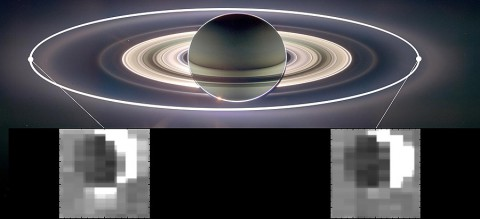 This set of images from NASA's Cassini mission shows how the gravitational pull of Saturn affects the amount of spray coming from jets at the active moon Enceladus. Enceladus has the most spray when it is farthest away from Saturn in its orbit (inset image on the left) and the least spray when it is closest to Saturn (inset image on the right). (Image Credit: NASA/JPL-Caltech/University of Arizona/Cornell/SSI)