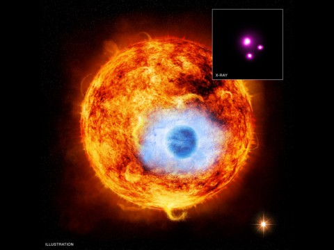 This graphic depicts HD 189733b, the first exoplanet caught passing in front of its parent star in X-rays. (Image Credit: X-ray: NASA/CXC/SAO/K.Poppenhaeger et al; Illustration: NASA)