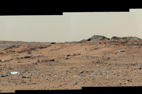 This scene combines seven images from the telephoto-lens camera on the right side of the Mast Camera (Mastcam) instrument on NASA's Mars rover Curiosity. The component images were taken between 11:39 and 11:43 a.m., local solar time, on 343rd Martian day, or sol, of the rover's work on Mars (July 24, 2013). (Image Credit: NASA/JPL-Caltech/Malin Space Science Systems)