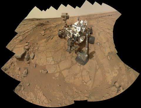 This self-portrait of NASA's Mars rover Curiosity combines 66 exposures taken by the rover's Mars Hand Lens Imager (MAHLI) during the 177th Martian day, or sol, of Curiosity's work on Mars (Feb. 3rd, 2013). (Image credit: NASA/JPL-Caltech/MSSS)