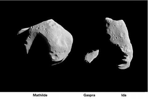 These photos show the relative size of three asteroids that have been imaged at close range by spacecraft. Mathilde (37 x 29 miles) (left) was taken by the NEAR spacecraft on June 27, 1997. Images of the asteroids Gaspra (middle) and Ida (right) were taken by the Galileo spacecraft in 1991 and 1993, respectively. (Image Credit: NASA/JPL/NEAR and Galileo missions)