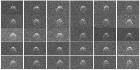Radar images of asteroid 2005 WK4 were obtained on Aug. 8, 2013. The asteroid is between 660 - 980 feet (200 - 300 meters) in diameter. (Image credit: NASA/JPL-Caltech/GSSR)