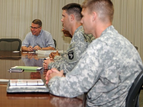 Retired Maj. Gen. Robert F. Dees, former commander of the 3rd Brigade, 101st Airborne Division (Air Assault) and current honorary commander of the 187th Infantry Regiment, visited leaders at the brigade headquarters on Fort Campbell, KY, August 23rd, 2013. (U.S. Army Photo by Spc. Brian Smith-Dutton, 3rd BCT Public Affairs)