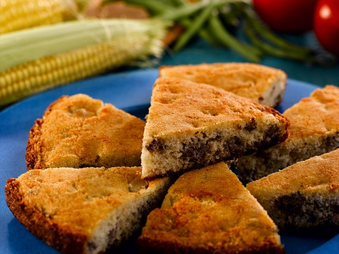 Country Sausage Cornbread from Martha White is the perfect complement to fresh summer vegetables.