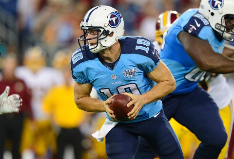 Tennessee Titans quarterback Jake Locker (10) begins his fourth career preseason this Saturday at LP Field. (Don McPeak/USA TODAY Sports)