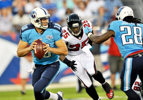Tennessee Titans quarterback Jake Locker drops back to pass against the Atlanta Falcons in preseason action. (Don McPeak/USA TODAY Sports)