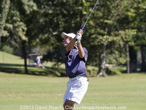 Tyler Guy watches his shot at Swan Lake Golf Course during the final round of the Mann Smith & Cummings Tournament of Champions.