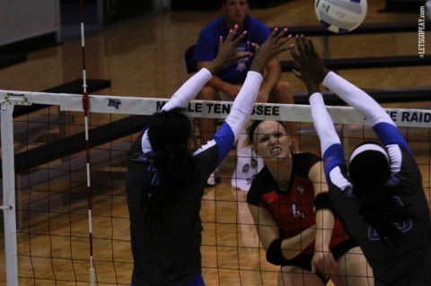 Redshirt freshman Sammie Ebright led Austin Peay with 12 kills in a loss to UALR, Friday morning.  (Brittney Sparn/APSU Sports Information)