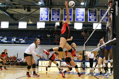 Senior Lauren Henderson had 12 kills in the Lady Govs five-set loss at Middle Tennessee, Saturday. (Brittney Sparn - APSU Sports Information)