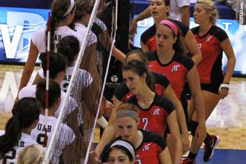 Austin Peay had a pair of late rallies, but could not stop VCU in a three-set loss, Friday. (Brittney Sparn - APSU Sports Information)