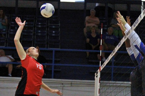 Austin Peay Junior Hillary Plybon notched nine kills in Lady Govs Volleyball's loss to East Tennessee, Friday. (Brittney Sparn - APSU Sports Information)