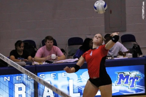 Freshman Sammie Ebright was named to the Memphis all-tournament team, Saturday, after Austin Peay fell to Memphis in its tournament finale. (Brittney Sparn - APSU Sports Information)