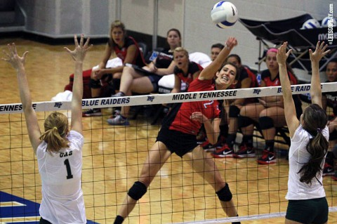 Senior Calyn Hull led the Lady Govs with 13 kills in its loss to UAB, Saturday. (Brittney Sparn - APSU Sports Information)