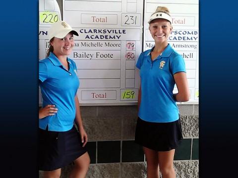 Anna Michelle Moore and Bailey Foote, Clarksville Academy Women's Golf. (Chris Austin - Clarksville Sports Network)