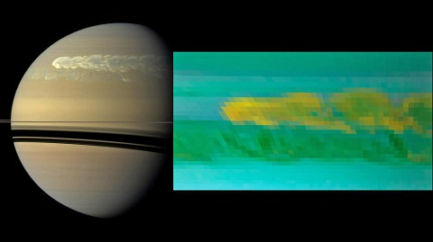 This set of images from NASA's Cassini mission shows the turbulent power of a monster Saturn storm. The visible-light image in the back, obtained on Feb. 25, 2011, by Cassini's imaging camera, shows the turbulent clouds churning across the face of Saturn. The inset infrared image, obtained a day earlier, by Cassini's visual and infrared mapping spectrometer, shows the dredging up of water and ammonia ices from deep in Saturn's atmosphere. (Image Credit: NASA/JPL-Caltech/SSI/Univ. of Arizona/Univ. of Wisconsin)