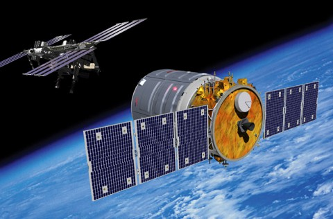 Artist rendering of Cygnus spacecraft approaching the International Space Station. (Courtesy of Orbital Sciences Corporation)
