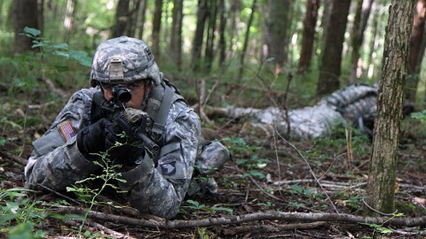 "Pfc. Nicholas Conzachi, a cavalry scout assigned to Troop B, 1st Squadron, 33rd Cavalry Regiment, 3rd Brigade Combat Team ""Rakkasans,"" 101st Airborne Division (Air Assault), scans his area for enemy movement during a scout team training exercise at Fort Campbell, Ky., Sept. 5, 2013.  (U.S. Army Photo by Spc. Brian Smith-Dutton, 3/101 Public Affairs)"