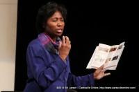 CCCA President Gail Oturu talks ot the audience about the current season