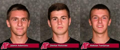 Austin Peay Governors Tennis' Jasmin Ademovic, Dimitar Ristovski and Aleksas Tverijona.
