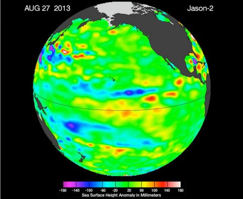 "The latest image of sea surface heights in the Pacific Ocean from NASA's Jason-2 satellite shows that the equatorial Pacific Ocean is now in its 16th month of being locked in what some call a neutral, or ""La Nada"" state. (Image credit: NASA-JPL/Caltech/Ocean Surface Topography Team)"