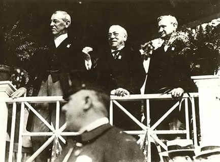 President Woodrow Wilson (Left) with American Federation of Labor founder and long-time president, Samuel Gompers (Center), and DOL Secretary William B Wilson at an undated Labor Day Rally.