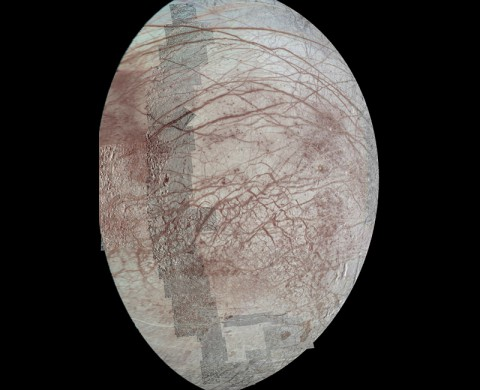 This view of Jupiter's moon Europa features several regional-resolution mosaics overlaid on a lower resolution global view for context. The regional views were obtained during several different flybys of the moon by NASA's Galileo mission, and they stretch from high northern to high southern latitudes. Prominent here are the long, arcuate (or arc-shaped) and linear markings called lineae (Latin for strings or threads). (NASA/JPL-Caltech/University of Arizona )