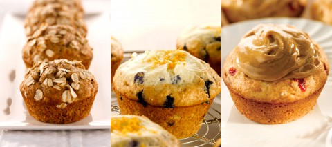 Banana Nut Oatmeal Muffins, Blueberry Cheesecake Muffins and Quick and Easy PB & J Muffins.