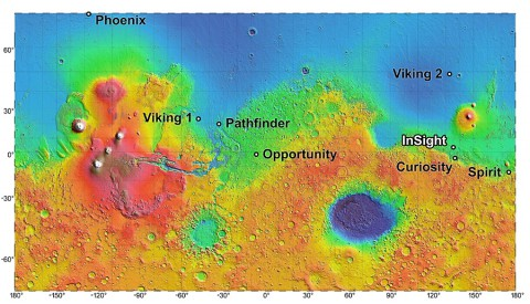 The process of selecting a site for NASA's next landing on Mars, planned for September 2016, has narrowed to four semifinalist sites located close together in the Elysium Planitia region of Mars. The mission known by the acronym InSight will study the Red Planet's interior, rather than surface features, to advance understanding of the processes that formed and shaped the rocky planets of the inner solar system, including Earth. (Image credit: NASA/JPL-Caltech)
