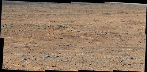An outcrop visible as light-toned streaks in the lower center of this image has been chosen as a place for NASA's Mars rover Curiosity to study for a few days in September 2013. (NASA/JPL-Caltech/MSSS)