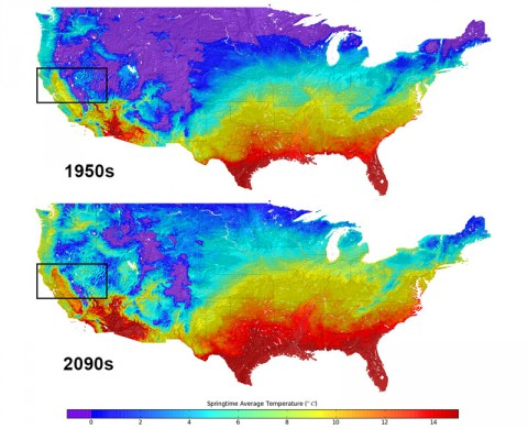 Top figure shows the average temperatures for springtime in 1950 across the United States, compared to the lower figure's projected average temperatures for the same season in 2099. Area in black boxes are enlarged below. (NASA)