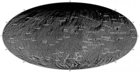 If you could drive a car around the giant Asteroid Vesta, you would need a road map akin to the atlas of images released from NASA's Dawn mission. Twenty-nine new maps of the asteroid, one of which is shown here, show its mountains and craters at a scale similar to that of common road maps. (NASA/JPL-Caltech/UCLA/MPS/DLR/IDA)