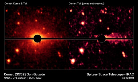 With the help of NASA's Spitzer Space Telescope, astronomers have discovered that what was thought to be a large asteroid called Don Quixote is in fact a comet. (NASA/JPL-Caltech/DLR/NAU)