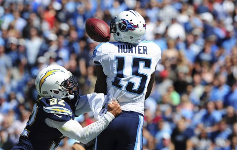 Tennessee Titans' rookie Justin Hunter catches the game winning touchdown with just 15 seconds remaining in the game. (USA Today)