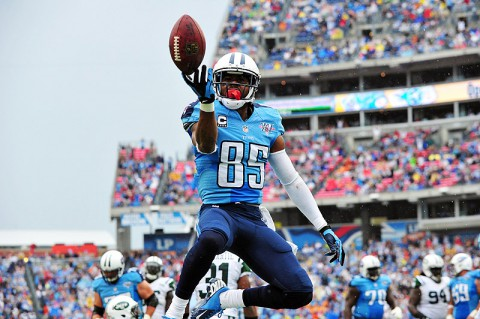 Tennessee Titans wide receiver Nate Washington (85) celebrates in the end zone after scoring a touchdown against the New York Jets during the first half at LP Field. (Don McPeak-USA TODAY Sports)