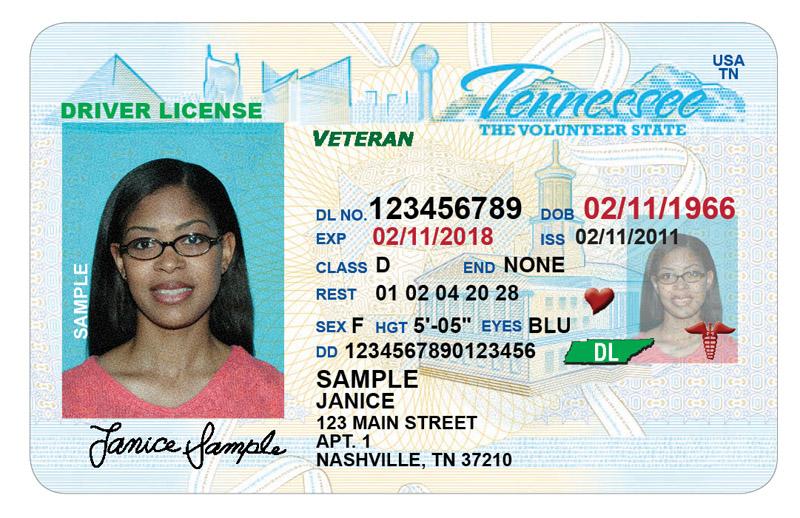 Tennessee Veteran Designation on Driver License