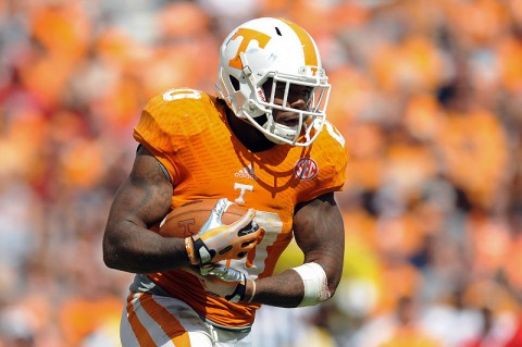Tennessee Volunteers running back Rajion Neal (20) runs the ball against the South Alabama Jaguars during the second half at Neyland Stadium. Tennessee won 31 to 24. (Randy Sartin-USA TODAY Sports)