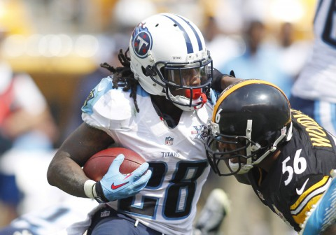 Tennessee Titans running back Chris Johnson (28) carries the ball as Pittsburgh Steelers outside linebacker LaMarr Woodley (56) defends during the third quarter at Heinz Field. The Tennessee Titans won 16-9. (Charles LeClaire - USA TODAY Sports)