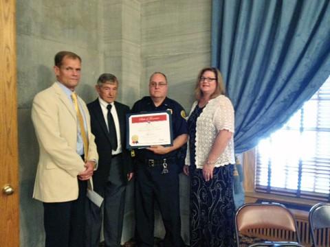 Clarksville Police Lt. Stephen Warren with First Responder Award.